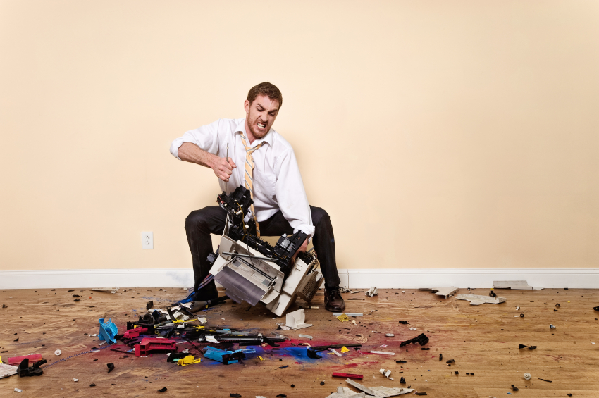 Man Rips Apart Printer